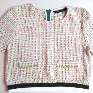 ZARA Multi-color Crop Tweed Top Short Sleeve